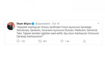 Azərbaycan Prezidenti: Daha səkkiz kənd işğaldan azad edilib