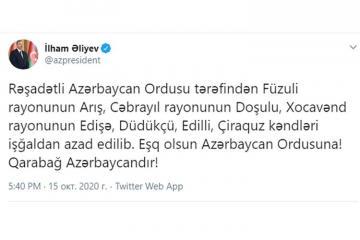 """Azərbaycan Prezidenti: [color=red]""""Daha 6 kənd işğaldan azad edilib""""[/color]"""