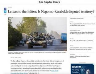 Статья генконсула Азербайджана об оккупационной политике Армении опубликована в Los Angeles Times