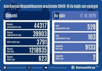Azərbaycanda son sutkada 528 nəfər koronavirusa yoluxub, 103 nəfər sağalıb, 2 nəfər vəfat edib