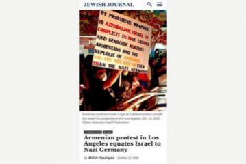 """Jewish Journal"" publishes an article on Armenian protest in Los Angeles equating Israel to Nazi Germany"