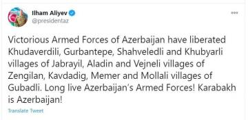 Azerbaijani Army has liberated 9 villages of Jabrail, Zangilan and Gubadly