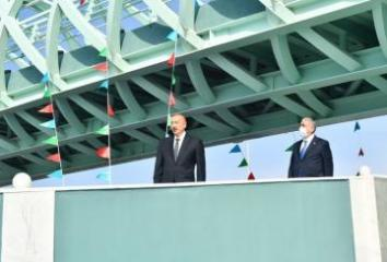 President Ilham Aliyev attends inauguration of above ground pedestrian crossing in Baku