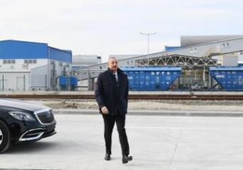 President Ilham Aliyev attended groundbreaking ceremony for two plants in Sumgayit Chemical Industry Park and inaugurated sheet glass factory