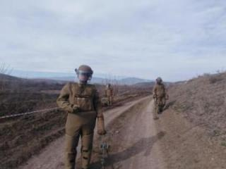 Mines and other obstacles, installed by enemy in the liberated territories of Fuzuli being neutralized