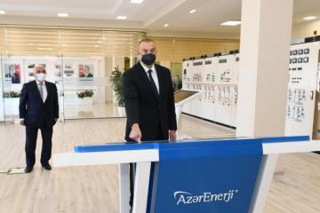 Президент Ильхам Алиев открыл реконструированную 110/35/6-киловольтную подстанцию «Бинагади»