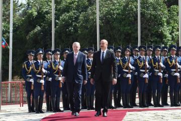 Türkiyə Prezidentinin Şuşada rəsmi qarşılanma mərasimi olub - [color=red]VİDEO[/color]