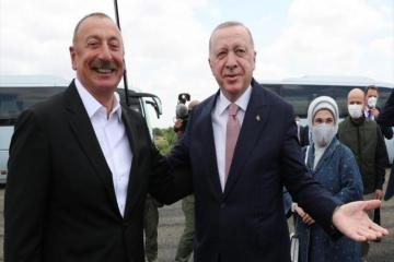 Prezident İlham Əliyev Rəcəb Tayyib Ərdoğanı Füzulidə qarşılayıb