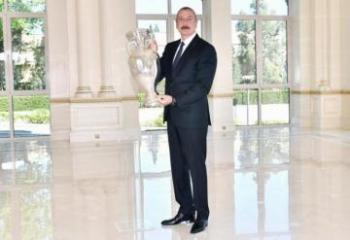 President Ilham Aliyev presented EURO 2020 Trophy