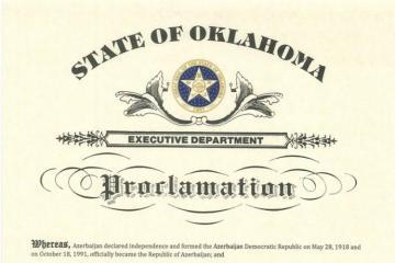 Губернатор Оклахомы объявил 28 мая Днем Республики Азербайджана