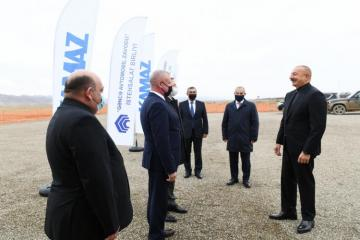 President Ilham Aliyev attended groundbreaking ceremony of joint service center of KAMAZ OJSC and Ganja Automobile Plant Production Association