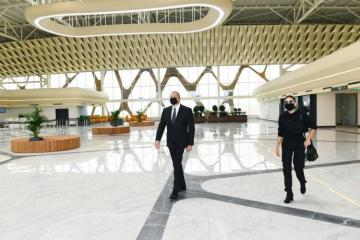 Prezident İlham Əliyev və Mehriban Əliyeva Füzuli Beynəlxalq Hava Limanı ilə tanış olub