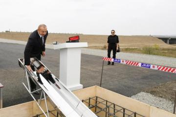 Prezident İlham Əliyev Füzuli-Ağdam avtomobil yolunun təməlini qoyub