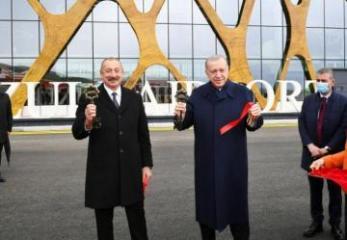 Azərbaycan və Türkiyə prezidentlərinin iştirakı ilə Füzuli Beynəlxalq Hava Limanının açılışı olub - FOTO