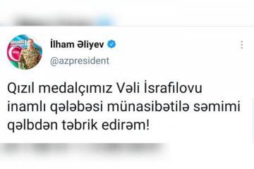 Azerbaijani President congratulates Vali Israfilov who won gold medal in Paralympic Games