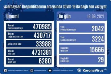 В Азербайджане за сутки выявлено 2 042 случая заражения COVID-19, скончались 29 человек