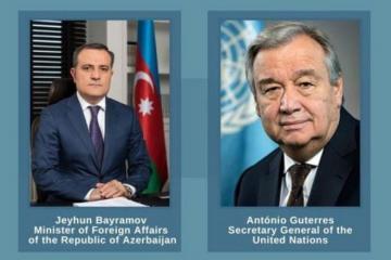 Генеральный секретарь ООН выразил благодарность Азербайджану на встрече с Джейхуном Байрамовым